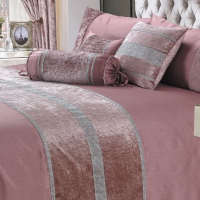PINK DUSKY SHIMMER DIAMANTE SPARKLE CRUSHED VELVET DUVET COVER LUXURY MODERN BEDDING RANGE